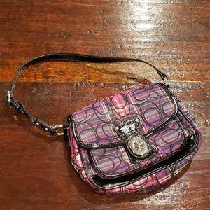Coach purple pink tartan plaid penny flap purse
